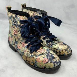 Dirty Laundry Velvet Vintage Floral Combat Boots